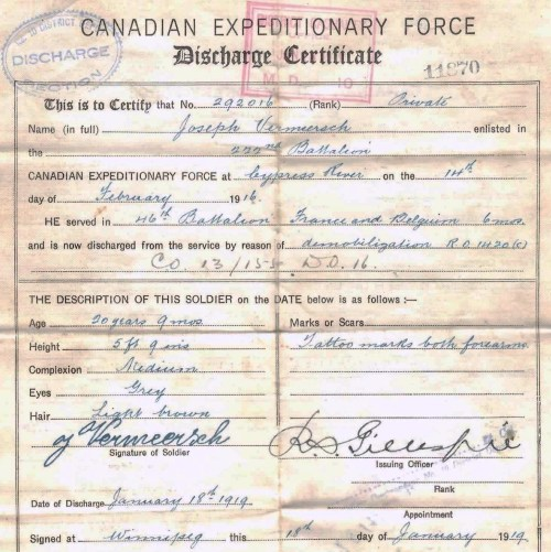 Canadian Expeditionary Force Discharge Certificate